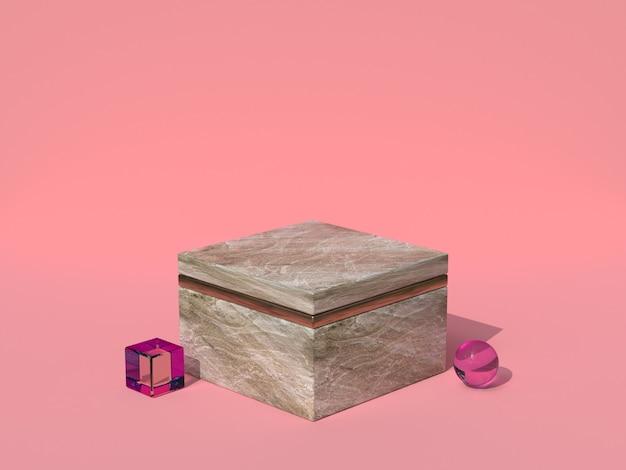 Scène rose forme carrée texture marbre rendu 3d