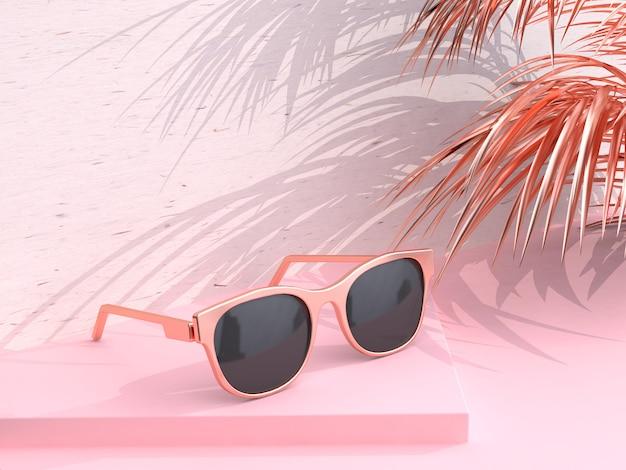 Scène rose lunettes de soleil abstraites été rendu 3d feuille de coco