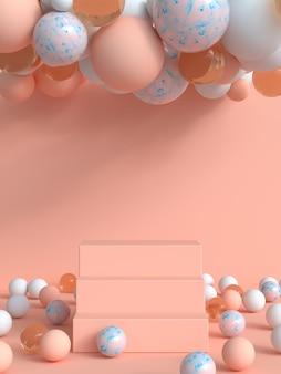 Scène rose / orange résumé 3d rendu podium vierge