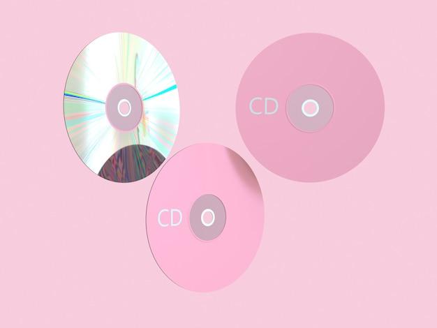 Scène rose rendu 3d disque cd / dvd cercle