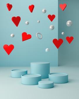 Scène de saint valentin avec des formes géométriques avec un podium vide. formes géométriques