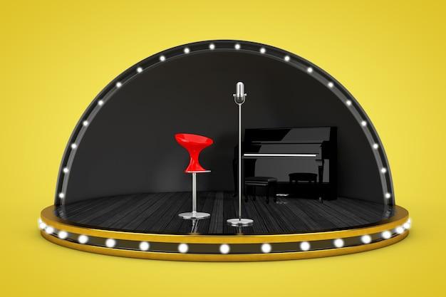 Scène de scène avec lumières et piano, microphone et chaise de chanteur sur fond jaune. rendu 3d
