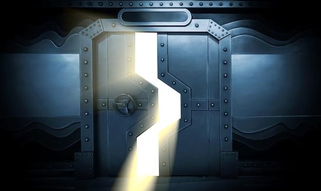 Scène de sci-fi, porte en métal de vaisseau spatial