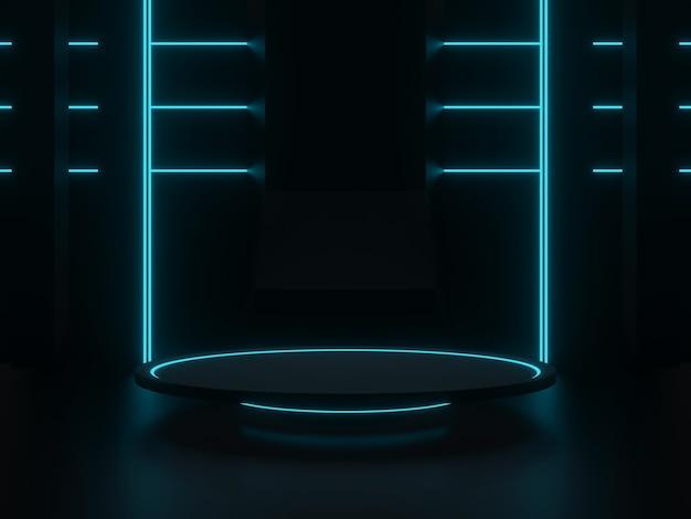 Scène scientifique noire 3d avec néons bleus