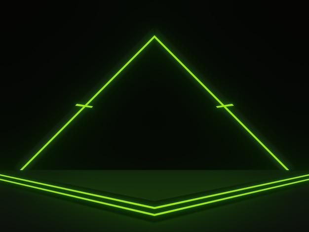 Scène scientifique noire 3d avec néons verts