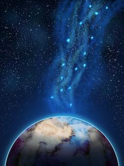 Scène spatiale avec planètes et galaxie