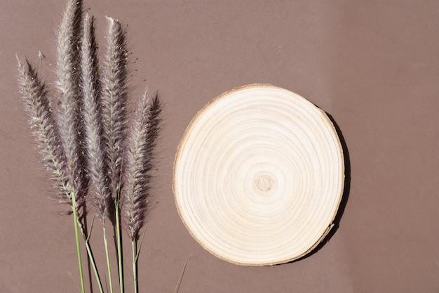 Scène de stock de style herbe sèche dans des tons de terre brune, vue de dessus