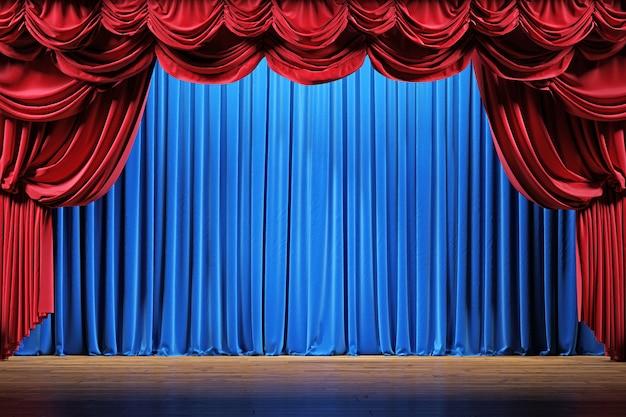 Scène de théâtre avec rideaux de velours rouge et bleu