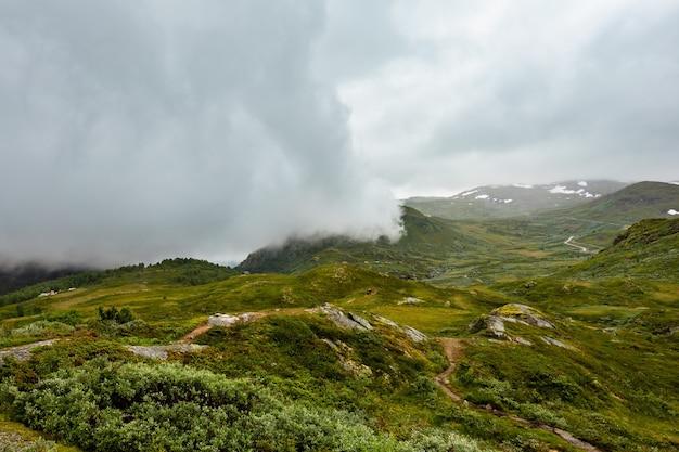 Scène de toundra nuageuse de montagne d'été de la norvège du nord
