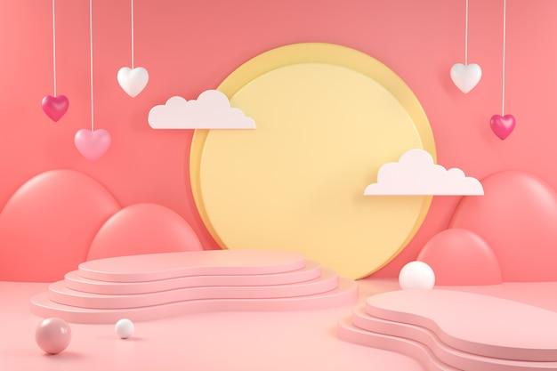 Scène de valentine d'affichage de rendu 3d sur rose tendre
