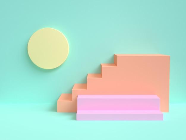 Scène verte abstrait coloré forme géométrique escalier rendu 3d