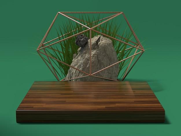 Scène verte configuration bois et pierre naturelle rendu 3d