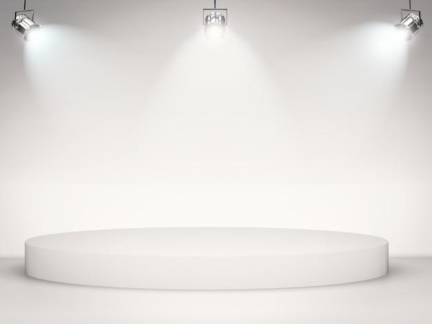 Scène vierge avec des lumières brillantes sur fond gris