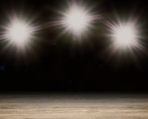 Scène vierge de rendu 3d avec lumière flash brillante