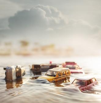 Scène de voitures accidentées (miniature, modèle de jouet) dans les inondations causées par des catastrophes naturelles. mise au point sélective.