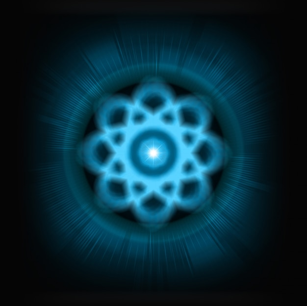 Schéma de l'atome bleu brillant.