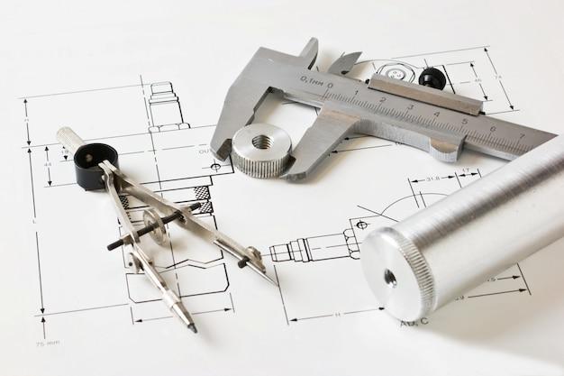 Schéma mécanique et étriers avec détails