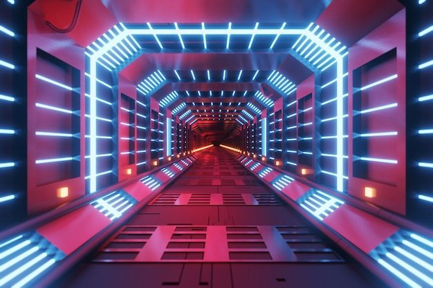 Sci-fi futuriste techno néon cube design de lumières rougeoyantes. abstrait, design moderne, rendu 3d