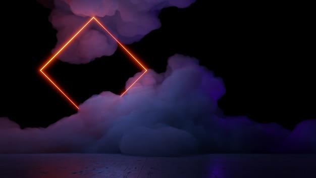 Sci fi réalité virtuelle paysage cyberpunk style 3d render, univers fantastique et fond de nuage d'espace
