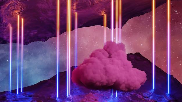 Sci fi réalité virtuelle paysage de style cyberpunk rendu 3d