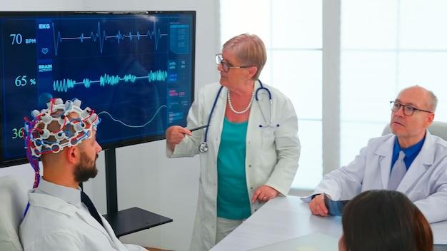 Scientifique faisant une analyse du cerveau à l'aide d'un casque avec capteurs sur un médecin dans la salle de réunion de l'hôpital. le moniteur montre une étude cérébrale moderne tandis qu'une équipe de scientifiques ajuste l'appareil travaillant dans le bureau de la conférence