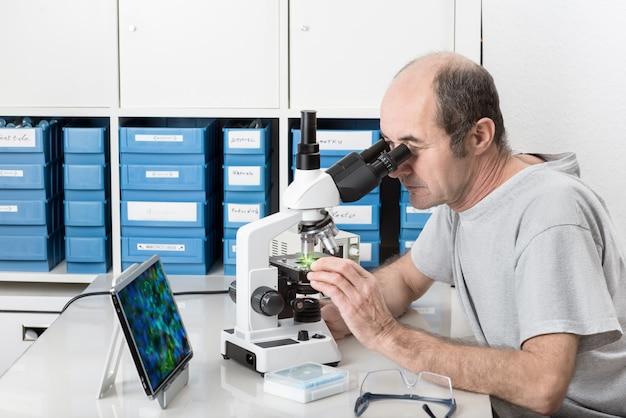 Scientifique masculin senior ou technologie travaille dans le laboratoire