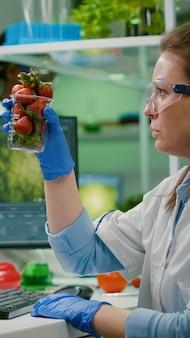 Scientifique pharmaceutique regardant le verre avec la fraise tout en tapant l'expertise médicale sur l'ordinateur. biochimiste injectant des fruits avec des pesticides vérifiant le test génétique travaillant dans un laboratoire agricole
