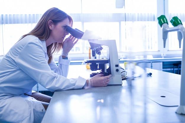 Scientifique travaillant avec un microscope en laboratoire