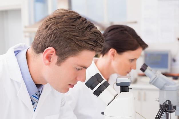 Les scientifiques regardent attentivement dans les microscopes