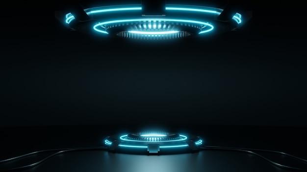 Scifi futuristic podium futuristic blue glowing empty showcase socle de produit vierge pour produit