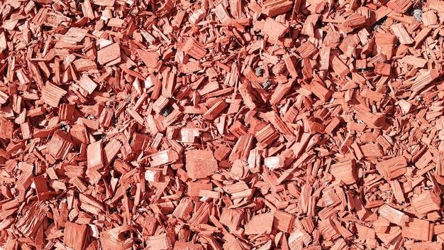 Sciure pour le jardin. texture d'écorce d'arbre gisant sur le sol. arrière-plan d'une écorce d'arbre. écorce décorative, paillis, paillage. copeaux de bois décoratifs. paillis de pin rouge naturel.