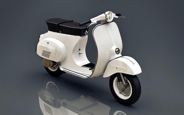 Scooter blanc européen vintage sur fond gris. rendu 3d.
