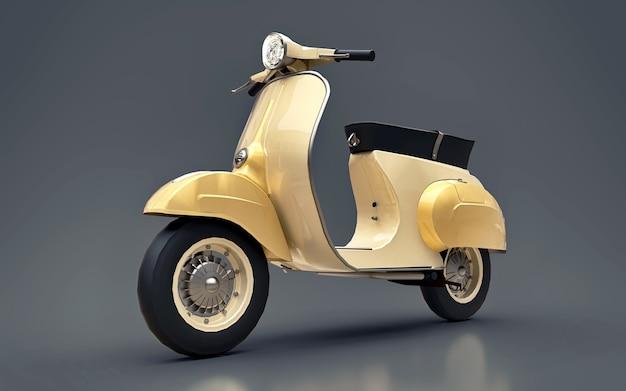 Scooter d'or européen vintage sur fond gris. rendu 3d.