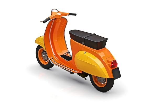 Scooter orange européen vintage sur fond blanc. rendu 3d.