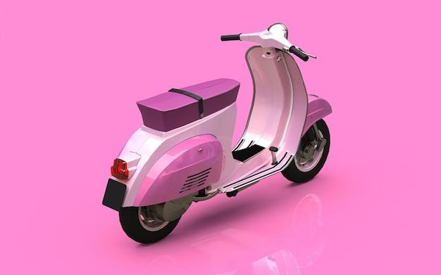 Scooter rose européen vintage sur fond rose. rendu 3d.