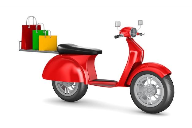 Scooter rouge avec des sacs-cadeaux sur fond blanc. illustration 3d isolée