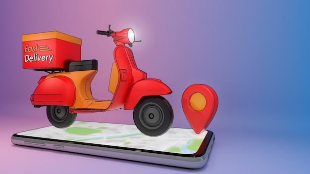 Scooter sur téléphone mobile avec repère rouge., concept de service de livraison rapide et achats en ligne., illustration 3d avec un tracé de détourage d'objet