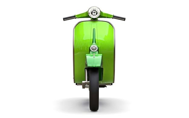 Scooter vert européen vintage sur fond blanc. rendu 3d.
