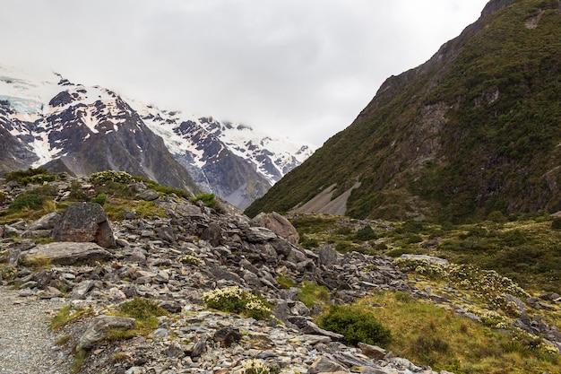 Scree dans les alpes du sud trek entre hooker lakes et mller lake nouvelle-zélande