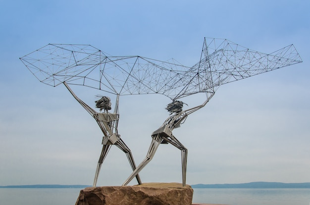 Sculpture de pêcheurs, russie