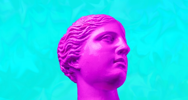 Sculpture de tête antique rose pourpre sur un fond lumineux rétro vaporwave. collage d'art contemporain. concept d'affiches de style vague rétro.