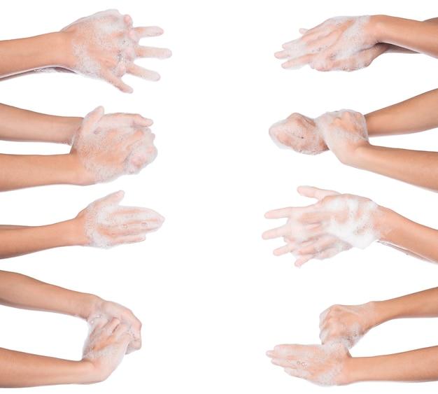 Se laver les mains, journée mondiale du lavage des mains, solated sur fond blanc.