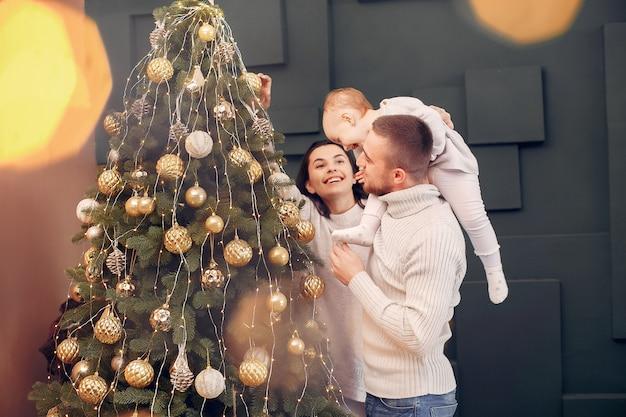 Séance famille, chez soi, près, arbre noël