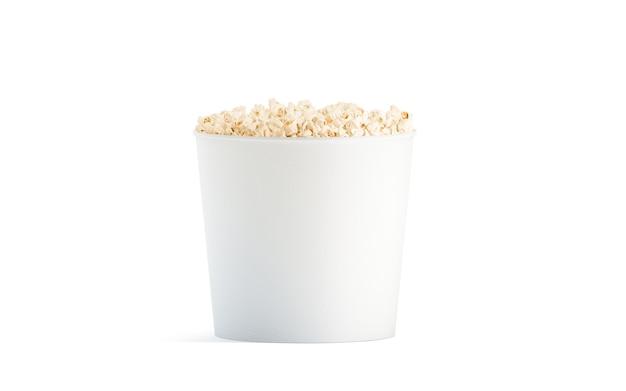 Seau de pop-corn blanc vierge isolé, vue de face