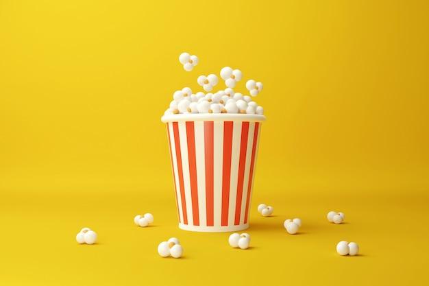 Seau à pop-corn. collation de film. concept de cinéma. illustration de rendu 3d.