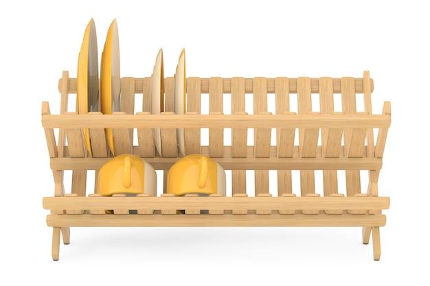 Séchoir à vaisselle en bambou avec assiettes et tasses sur fond blanc. rendu 3d