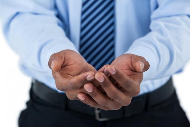 Section médiane des mains de l'homme en coupe