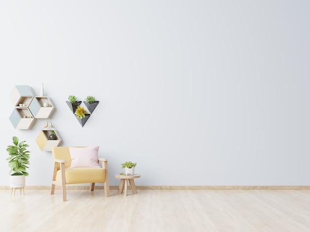 Séjour avec table en bois, lampes et fauteuil jaune.