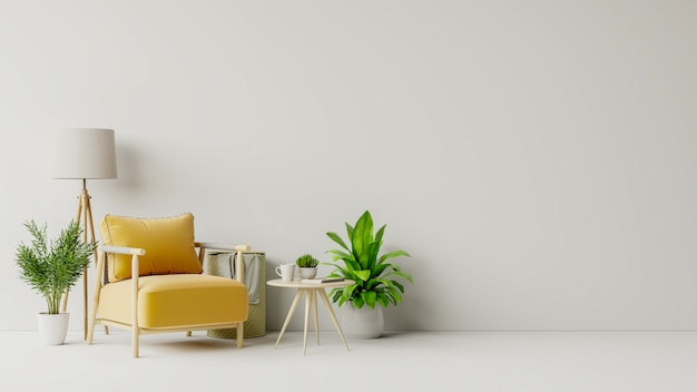 Séjour avec table en bois, lampes et fauteuil jaune