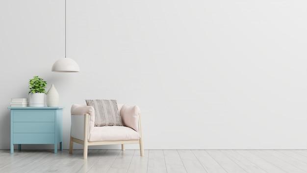 Séjour avec table, lampes et fauteuil en bois.